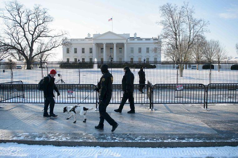 Het Witte Huis in de sneeuw. Beeld afp