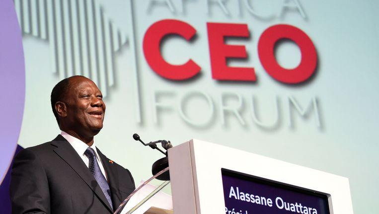De Ivoriaanse president Ouattara bij de opening van het Africa CEO Forum gisteren Beeld AFP