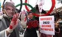Een protest tegen de Olympische Spelen in China vanwege het schenden van de mensenrechten in Tibet.