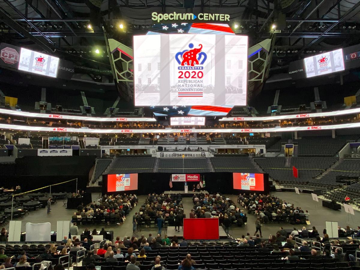 Het Spectrum Center in Charlotte, bij een voorstelling van de Republikeinse Conventie in november vorig jaar.