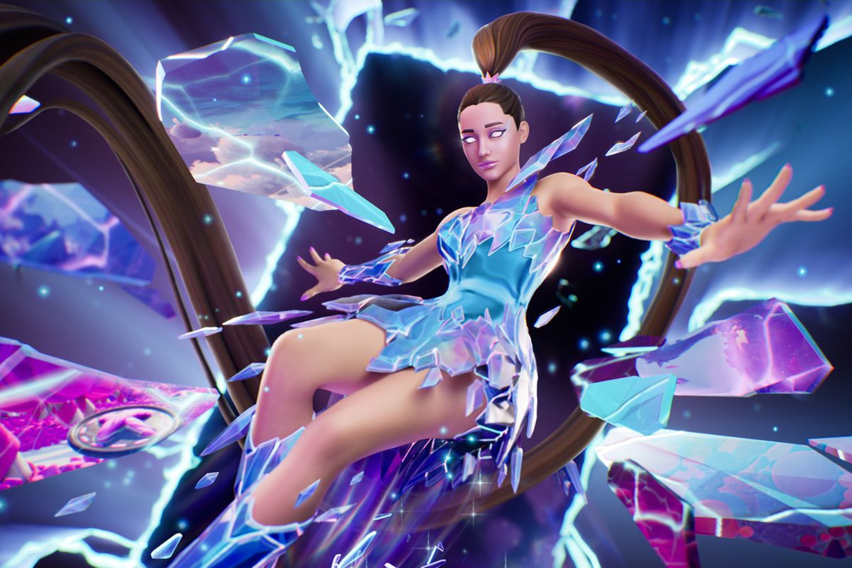 Ariana Grande in de computergame 'Fortnite'.  Beeld fortnite