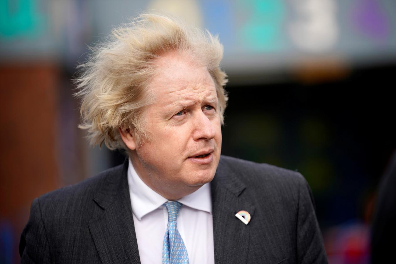 De Britse premier Boris Johnson gisteren in Stoke-on-Trent.