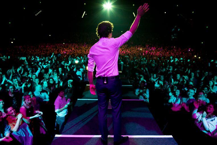 Jesse Klaver in 2017 bij een bijeenkomst van GroenLinks in het Afas-theater in Amsterdam. Met de 'meet-ups' wil de partij jongeren betrekken bij de politiek. Beeld Freek van den Bergh / de Volkskrant