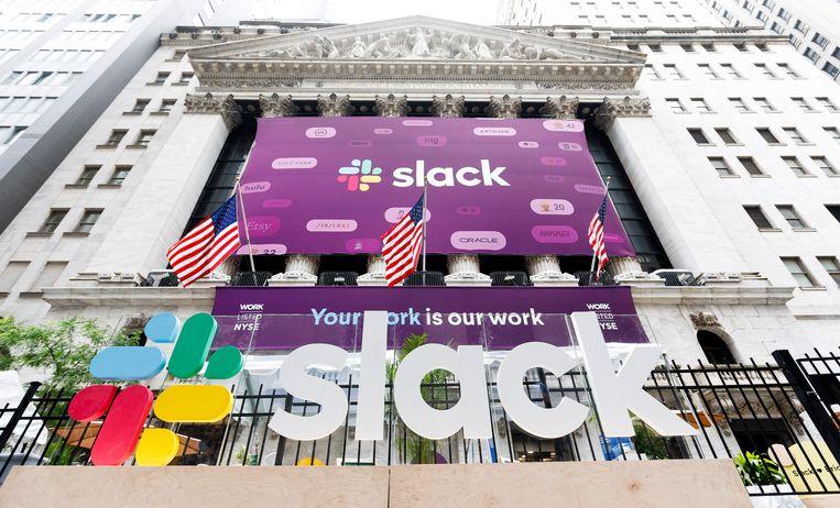 De New York Stock Exchange bij de beursgang van Slack in juni 2019. Beeld EPA