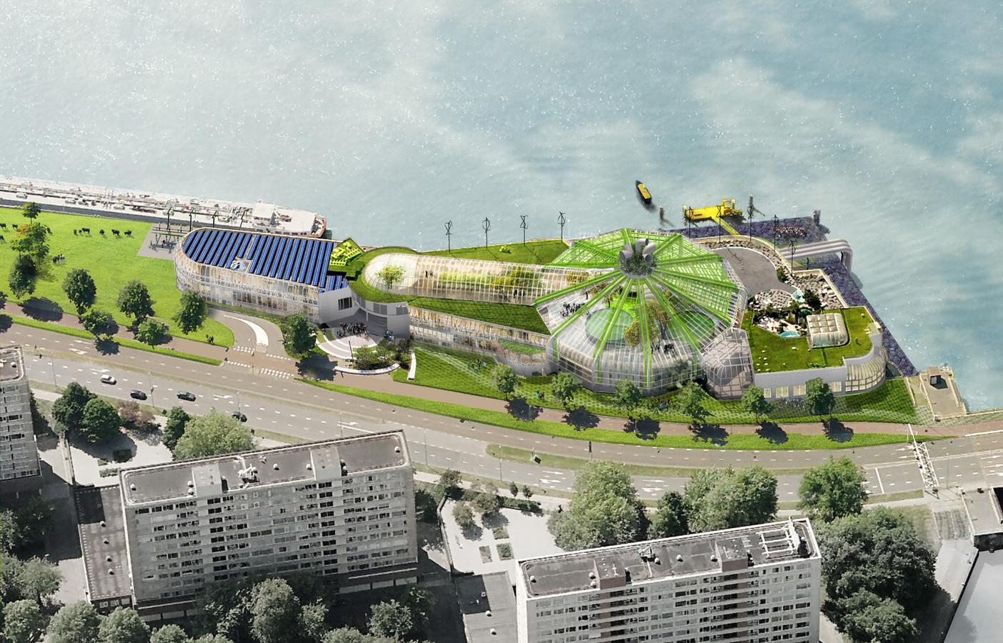 Een impressie van het duurzame complex.