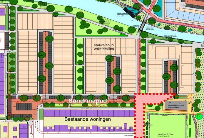 Foutje bedankt: het in rood aangegeven gebied heeft een verkeerde bestemming en moet alsnog als straat worden aangemerkt, anders kunnen de bewoners van de nieuwe huizen niet met de auto bij hun huis komen.