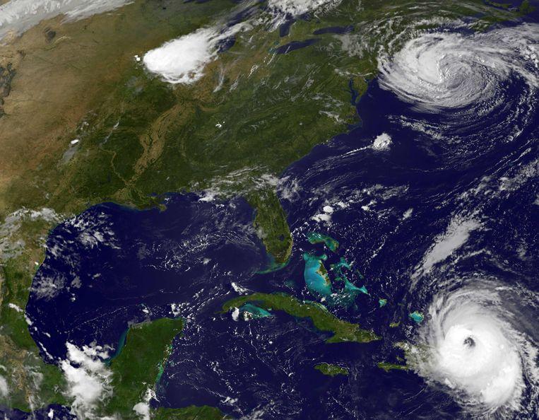 Orkanen Maria (beneden) en Jose (boven). Beeld afp