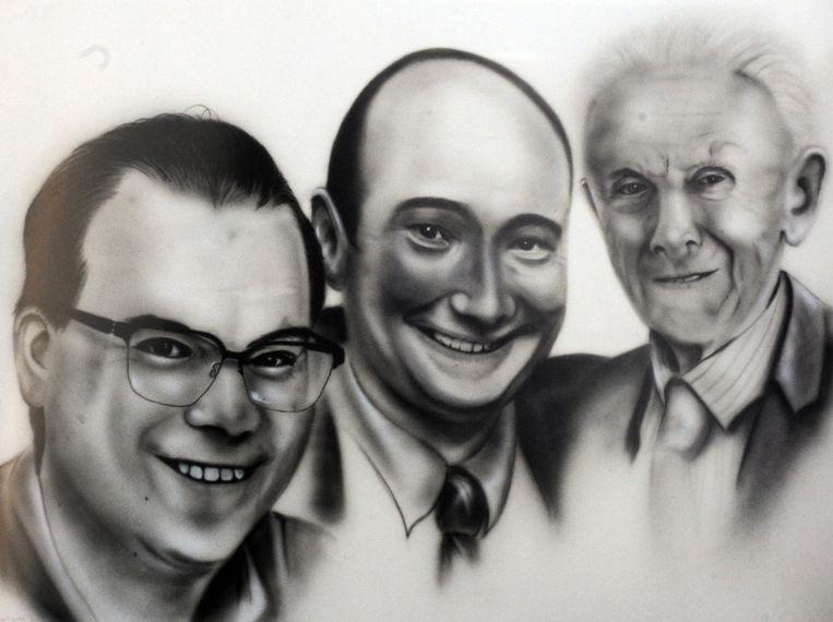 Olsenaar Yves Van Praet tekende dit opvallend portret van drie Zultse burgemeesters: (vlnr.) Simon Lagrange, Henk Heyerick en Georges Peirs.