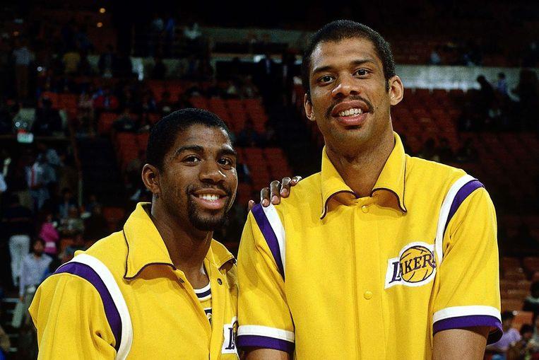 Magic Johnson en Kareem Abdul-Jabbar Beeld Getty Images