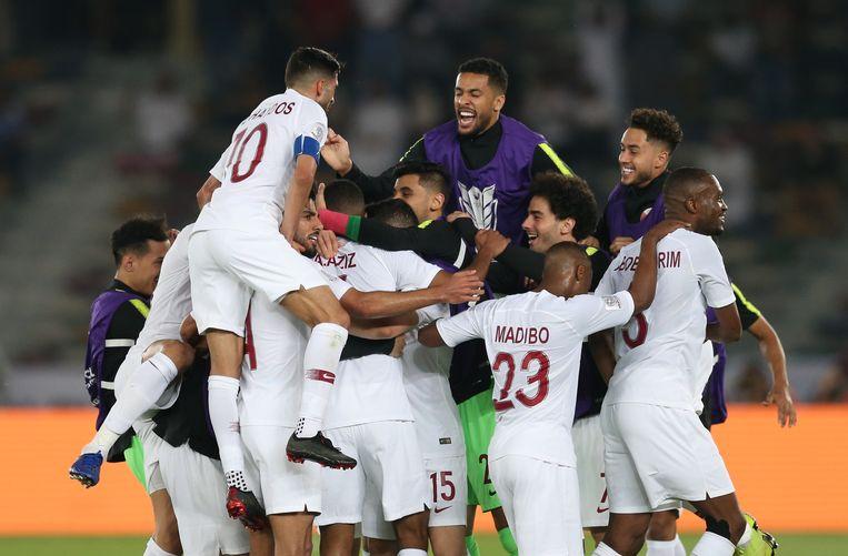 Qatar wint de finale van de Azië Cup tegen Japan. Beeld EPA
