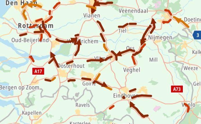 De situatie in Brabant, dinsdagochtend rond 8.15 uur.