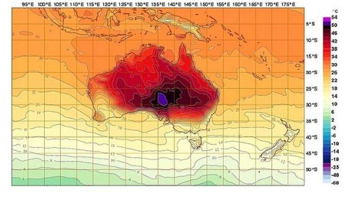 Dieppaars: een nieuwe kleur op de Australische weerkaart.