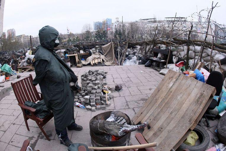 Barricades in Donetsk. Beeld AFP