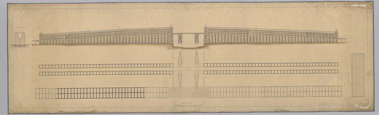 Tekening van een uit 1877 stammend plan van waterbouwkundige J. Galman voor een brug met een met pakhuizen bebouwd talud.  Beeld Stadsarchief