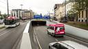 De Willemstunnel in het centrum van Arnhem. Van zondagavond 22 augustus uur tot zondag 29 augustus is de onderdoorgang afgesloten