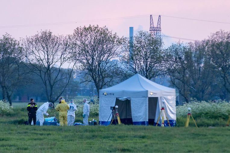 Onderzoek door de recherche in het weiland in Broek in Waterland waar schoten werden gewisseld.  Beeld Michel van Bergen