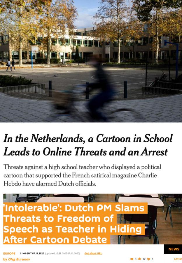 De bedreigingen aan het adres van een docent van het Emmauscollege in Rotterdam zijn wereldnieuws.