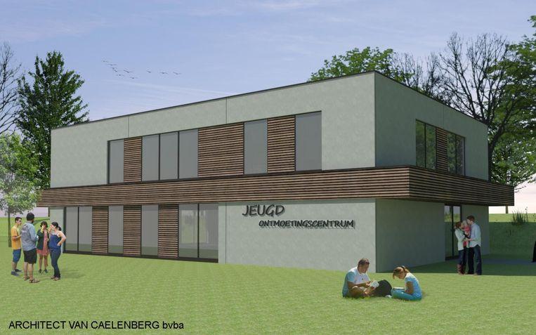 Een toekomstbeeld van het jeugdontmoetingscentrum vanuit de Langemunt.