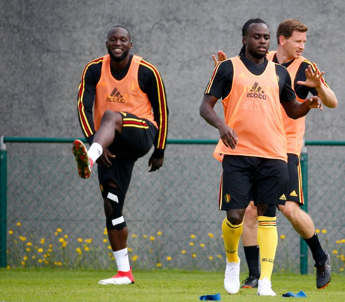 Archieffoto: Romelu en Jordan op de training van de Rode Duivels.