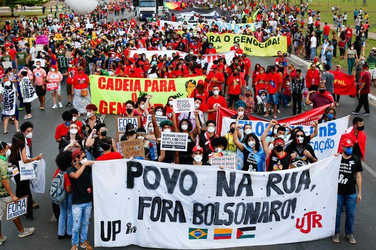 Betogers in de Braziliaanse hoofdstad Brasília. Beeld AFP