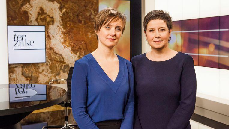 'Terzake'-ankers Annelies Beck en Kathleen Cools keren terug naar hun vertrouwde stek na 'Het journaal' op Canvas. Beeld VRT/Bart Musschoot