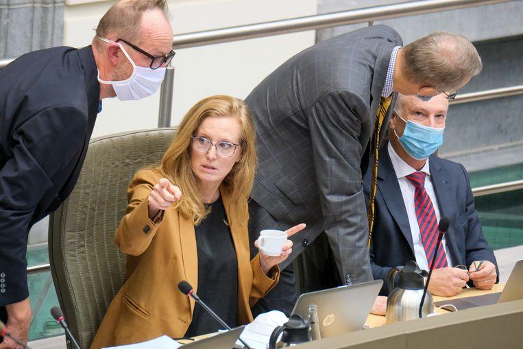 Rebecca Teeters (m.) en Peter Vermeulen (tweede van rechts) van 3M en hun raadsman Dominique Devos (r.) tijdens de hoorzitting in het Vlaams Parlement op 3 september. Beeld BELGA