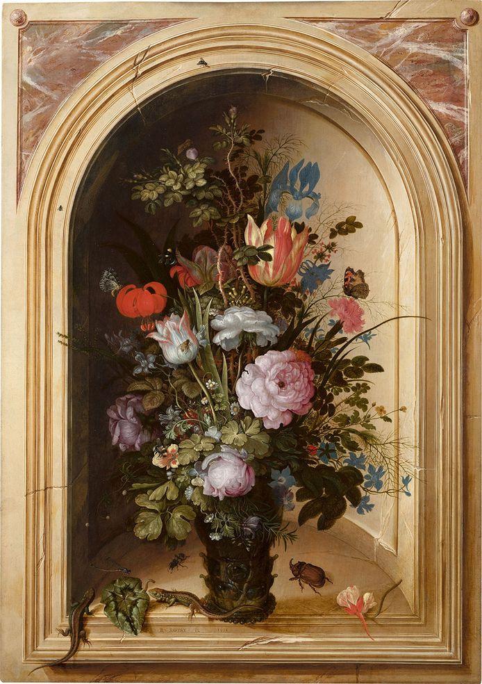 Vaas met bloemen in een stenen nis (1615) van Roelant Savery.