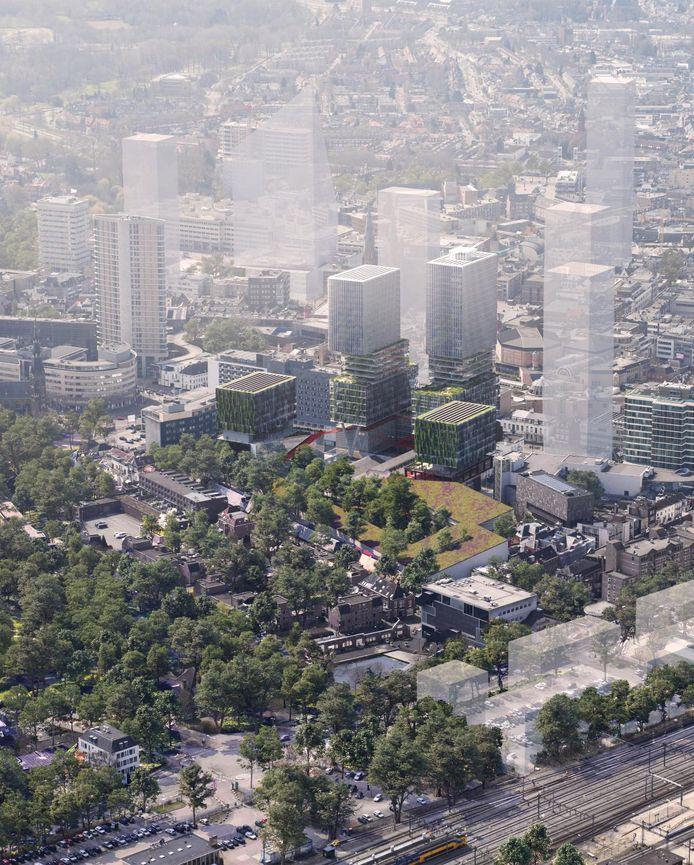 Het plan voor VDMA aan de Vestdijk in Eindhoven in vogelvlucht, gezien vanaf de achterkant.