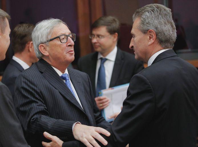 Günther Oettinger avec le président de la Commission européenne Jean-Claude Juncker.