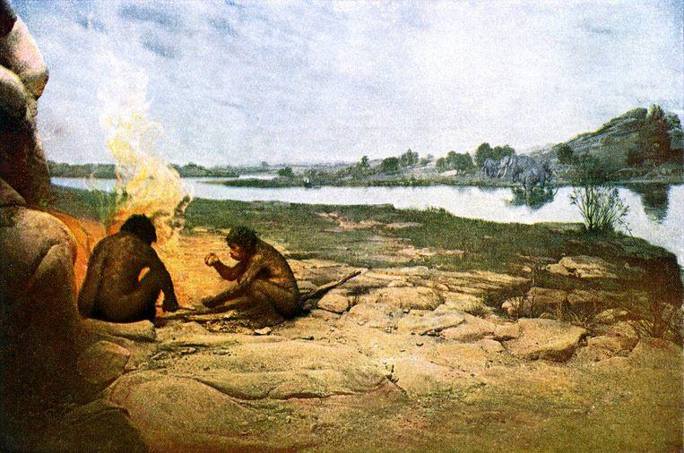 Inwoners Noord-Frankrijk, 250 duizend jaar geleden. Beeld Getty Images