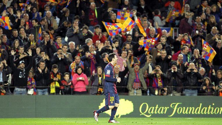 Lionel Messi na een van zijn talrijke doelpunten voor Barcelona Beeld epa