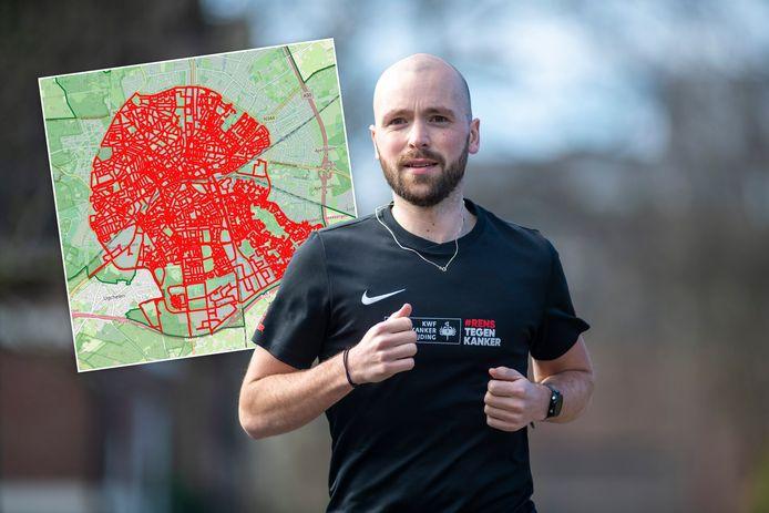 Rens Korswagen rent al enige maanden door de straten van Apeldoorn om geld in te zamelen voor KWF Kankerbestrijding. De kaart laat zien welke straten Rens inmiddels heeft gedaan.