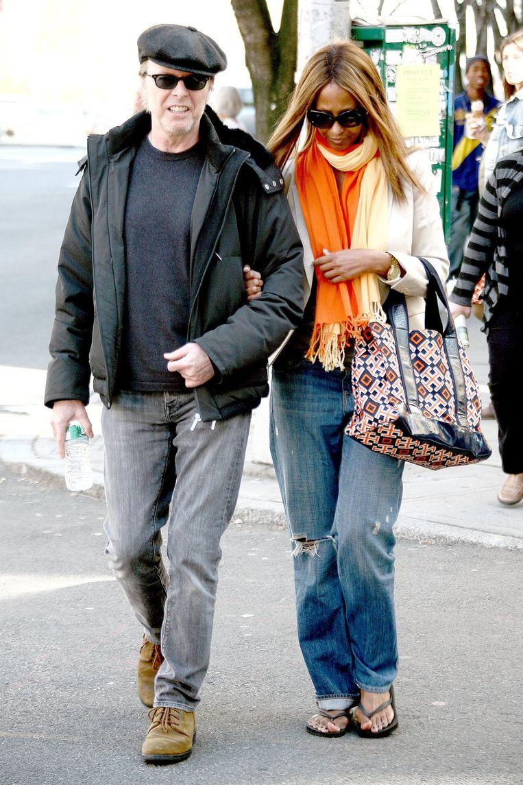 Bowie met zijn vrouw Iman: rockster in ruste. Beeld