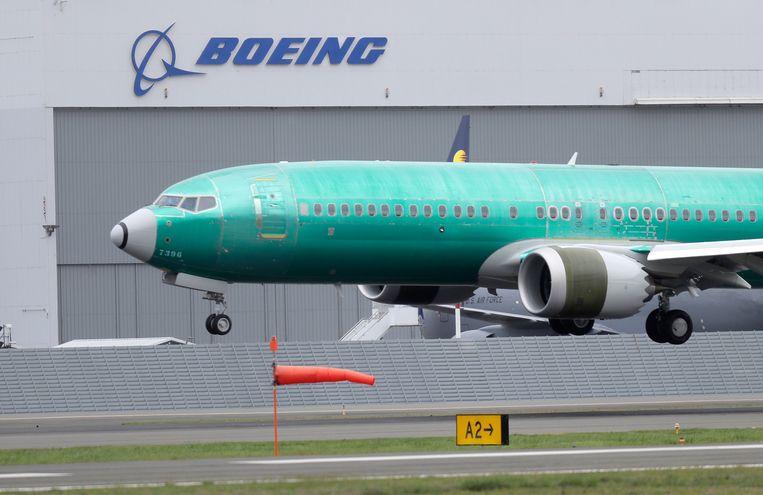 Een Boeing 737-MAX na een testvlucht in Seattle.  Beeld AP