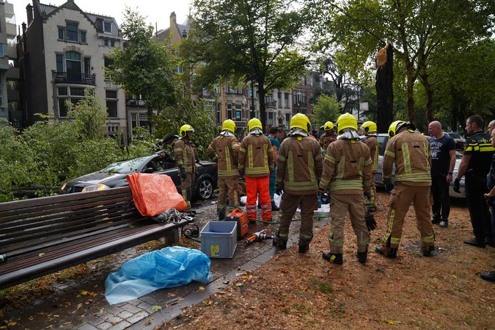 Een boom op de Westersingel knakte als een luciferhoutje. Twee inzittenden raakten bekneld en moesten worden bevrijd. Eén van hen overleed.