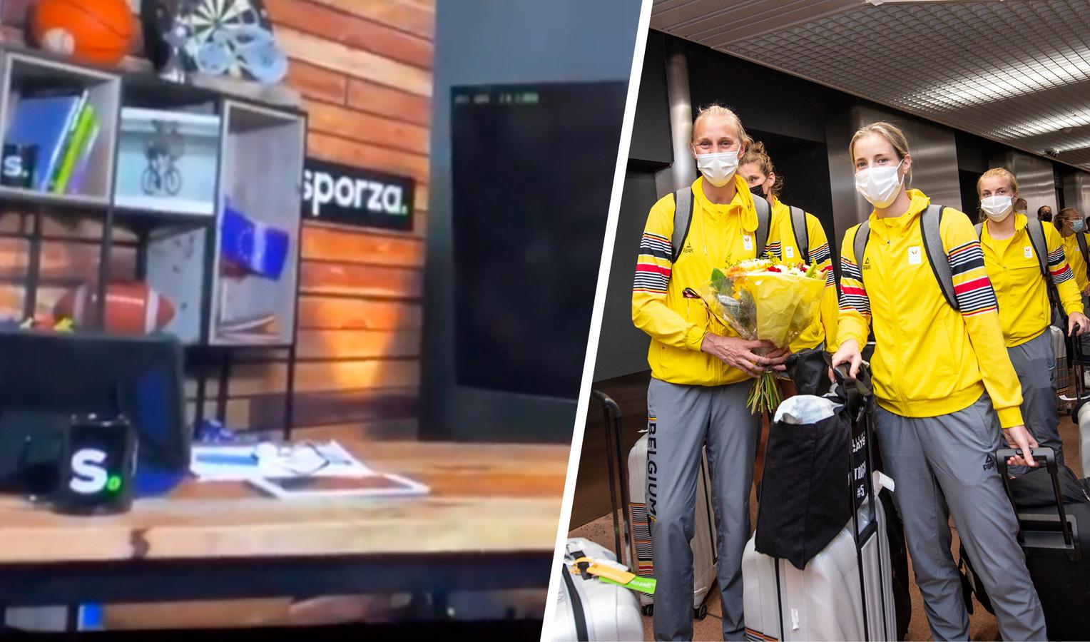 Links het fragment uit de livestream van Sporza, rechts de Belgian Cats op Zaventem.