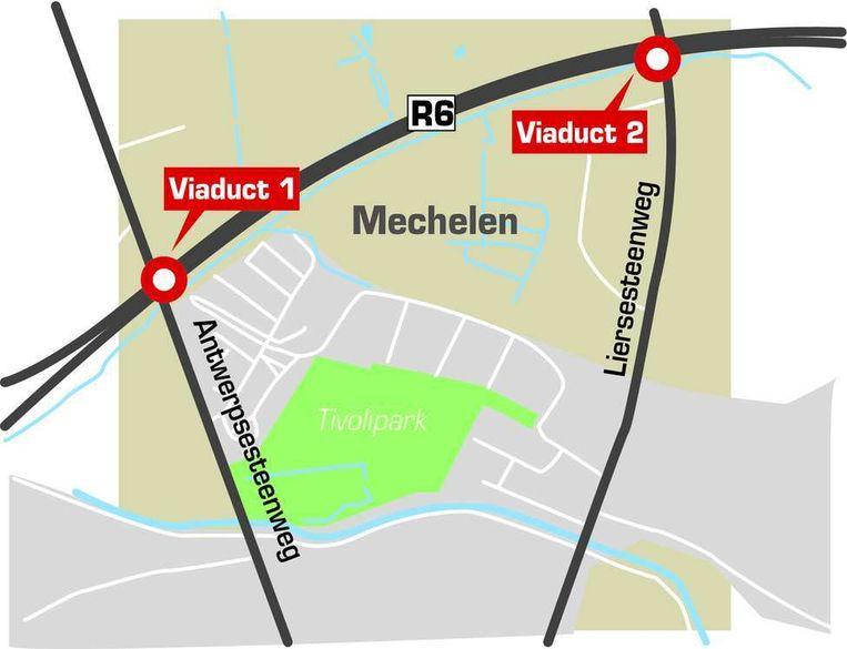 De nieuwe viaducten komen aan de kruispunten van de R6 met de Antwerpse- en de Liersesteenweg.