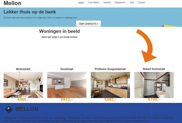 De website mellon.nu biedt zogenaamd woonruimte aan in Nijmegen.