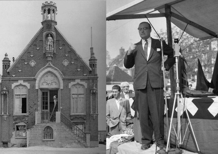 Links het oude raadhuis van Cuijk, rechts burgemeester Louis Jansen. Foto: Nationaal Archief