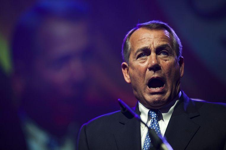 De Republikeinse voorman John Boehner dinsdagavond in Washington. Beeld epa