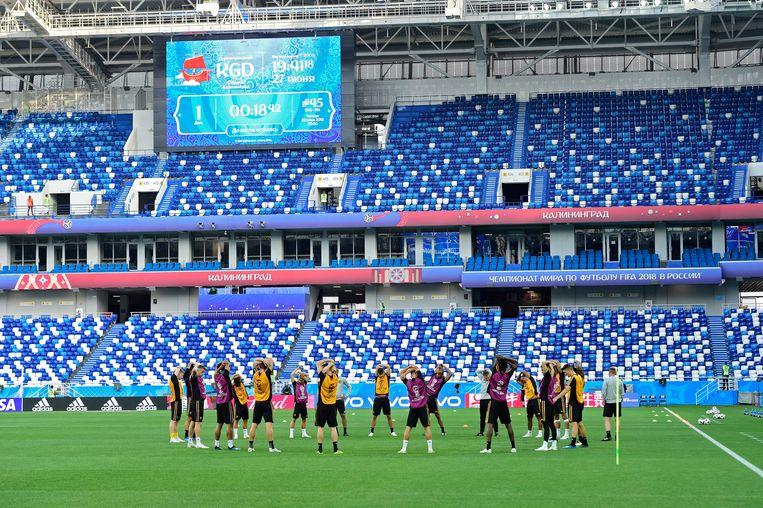 De Rode Duivels konden gisteravond even trainen in de Arena Baltika. Beeld Photo News