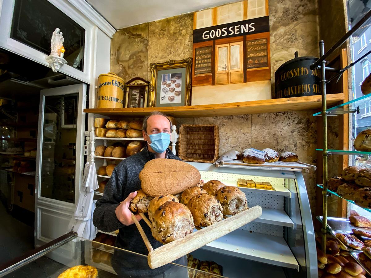 Zaakvoerder Patrick Goossens in zijn bakkerij.