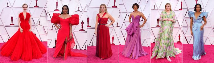 De gauche à droite: Amanda Seyfried, Angela Bassett, Reese Witherspoon, Halle Berry, Emerald Fennell and Regina King aux Oscars.