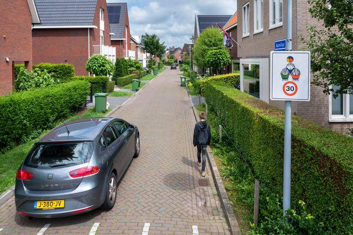 De lange kaarsrechte straat Aurelius zonder voetpad waar 30 kilometer per uur mag worden gereden.