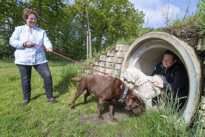 De plannen voor een hondenspeelveld in Tubbergen inspireerden Lieke Bloem en Willy de Bruijne. De enthousiaste hondenbezitters proberen dit initiatief ook in Albergen van de grond te krijgen.