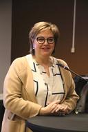 Schepen van Sociale Zaken Martine Taelman (GiB) sprak de aanwezigen toe.