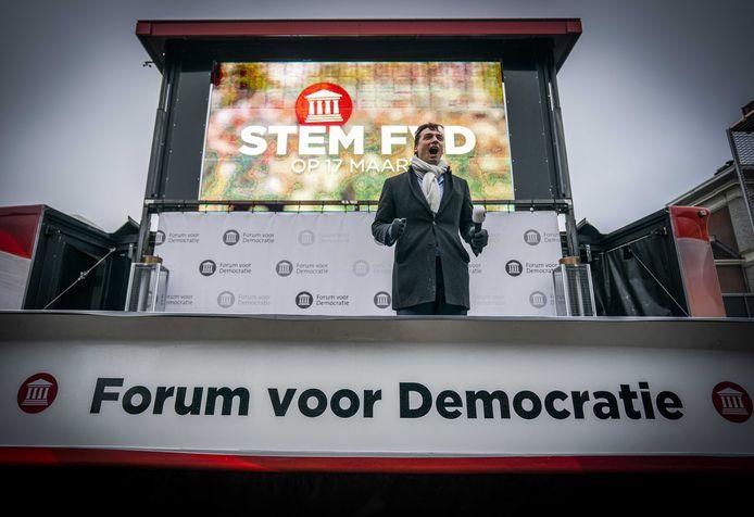 Lijsttrekker Thierry Baudet bij een campagnebijeenkomst van Forum voor Democratie.