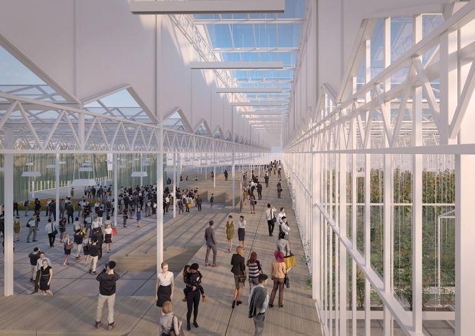 Artist impression van het Floriade-complex dat de Bom Group gaat bouwen.
