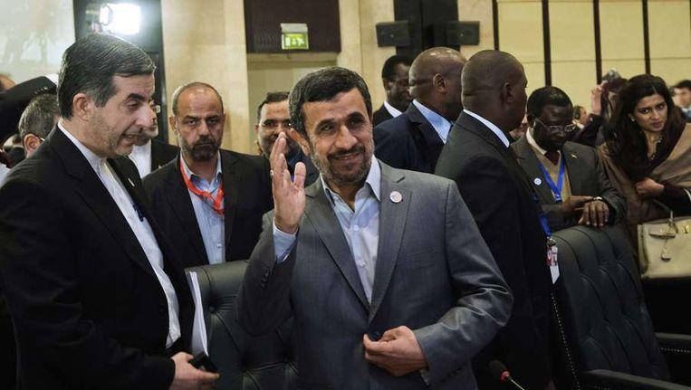 Ahmadinejad op de top van de Organisatie van Islamitische Samenwerking in Caïro Beeld afp