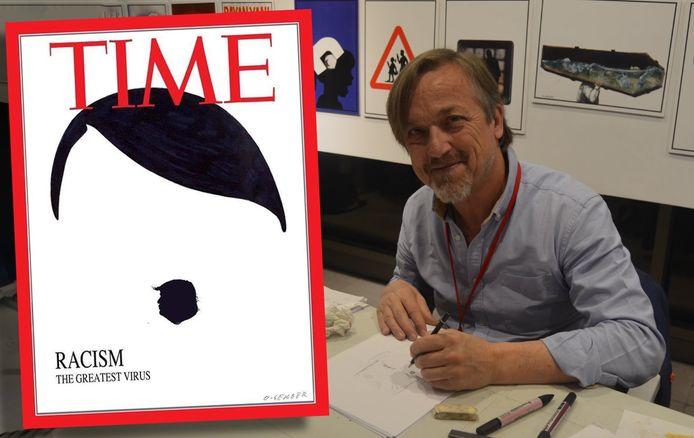 Luc 'O-Sekoer' Descheemaeker met een van zijn winnende cartoons.